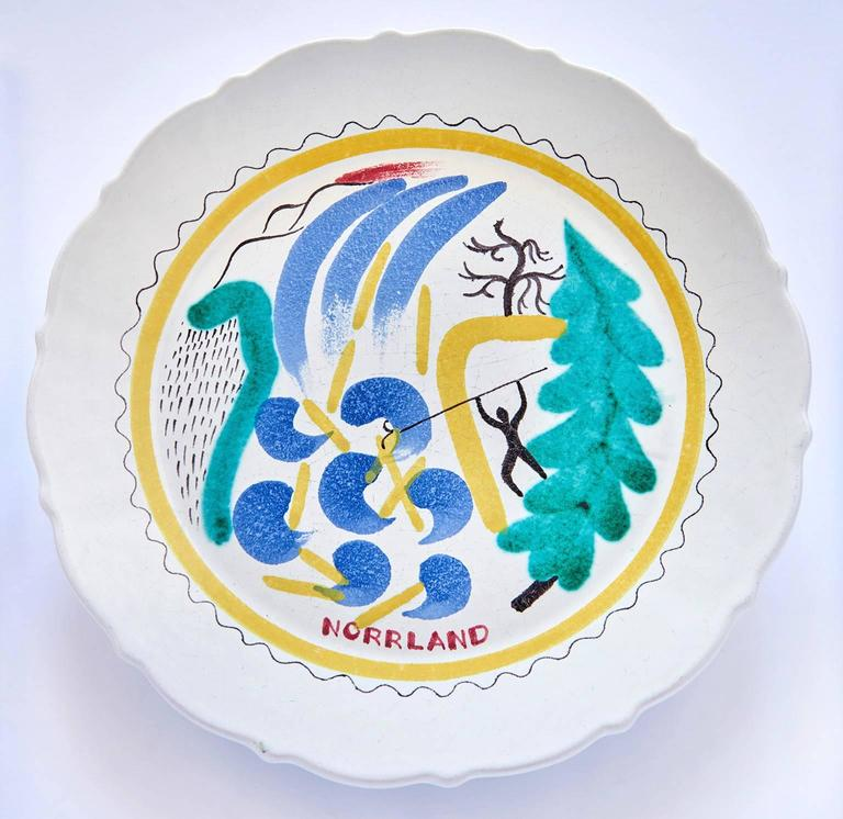 Set of Nine Hand-Painted Faience Dinner Plates by Stig Lindberg For Sale 1