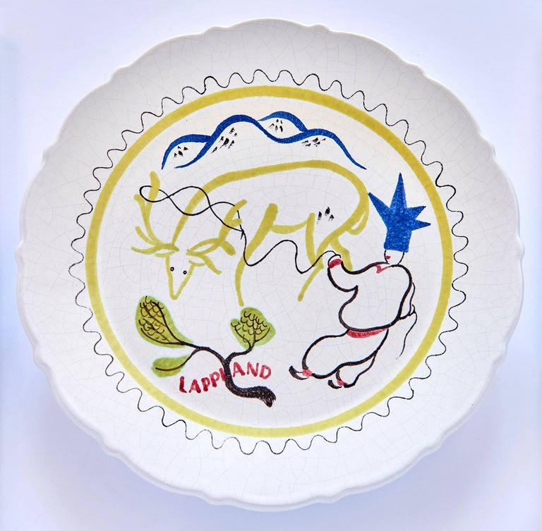 Earthenware Set of Nine Hand-Painted Faience Dinner Plates by Stig Lindberg For Sale