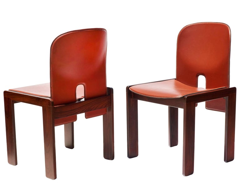 "Pair of ""121"" Chairs in Rosewood and Leather by Tobia & Afra Scarpa 2"