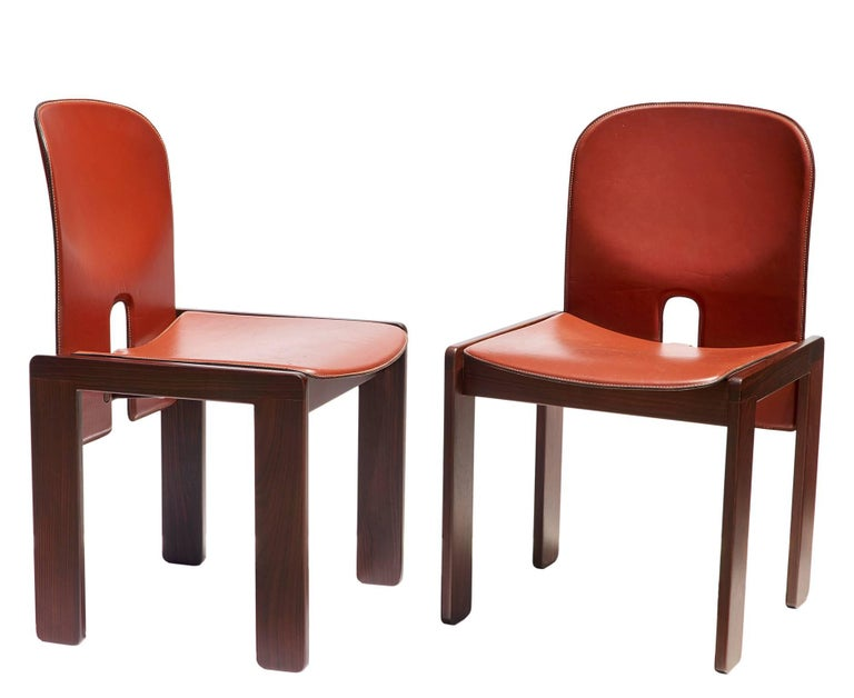 "Pair of ""121"" Chairs in Rosewood and Leather by Tobia & Afra Scarpa 3"