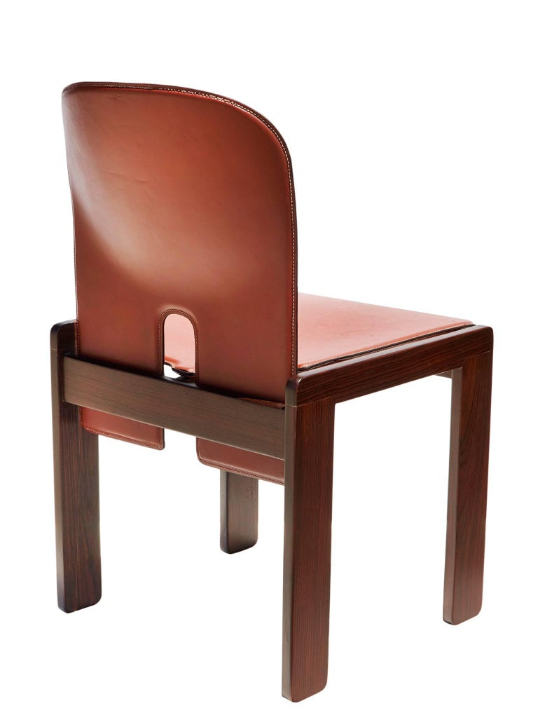 "Pair of ""121"" Chairs in Rosewood and Leather by Tobia & Afra Scarpa 4"