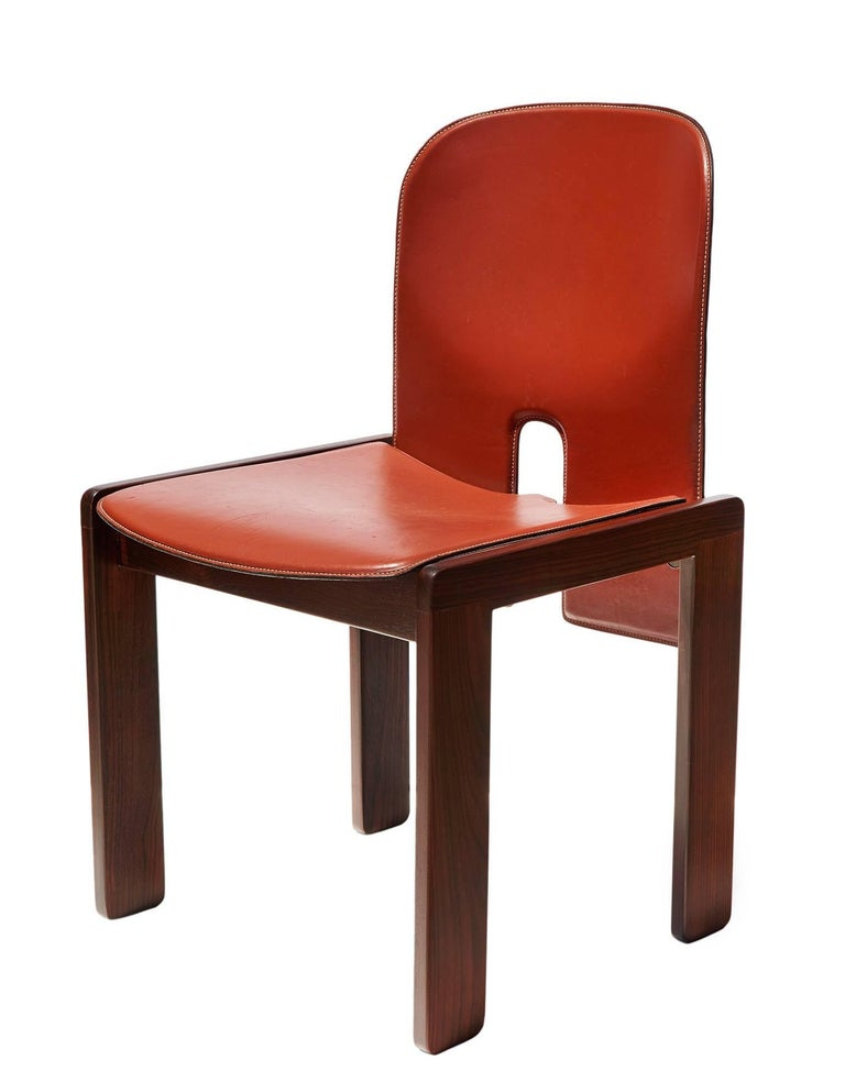"Pair of ""121"" Chairs in Rosewood and Leather by Tobia & Afra Scarpa 5"
