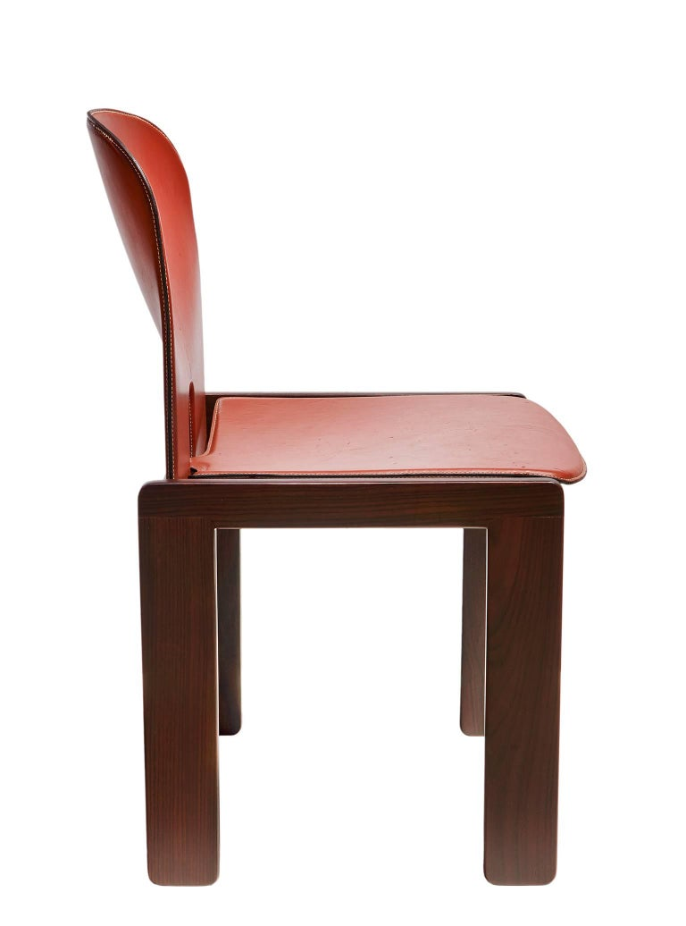 """""""121"""" Chairs in Rosewood and Leather by Tobia & Afra Scarpa 6"""