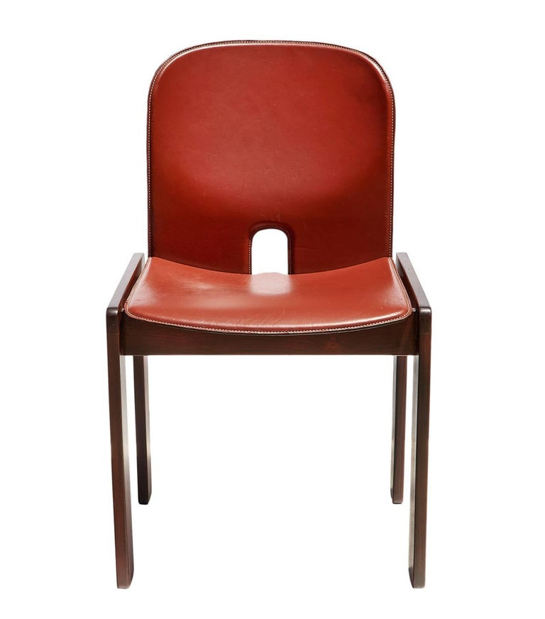 """""""121"""" Chairs in Rosewood and Leather by Tobia & Afra Scarpa 7"""