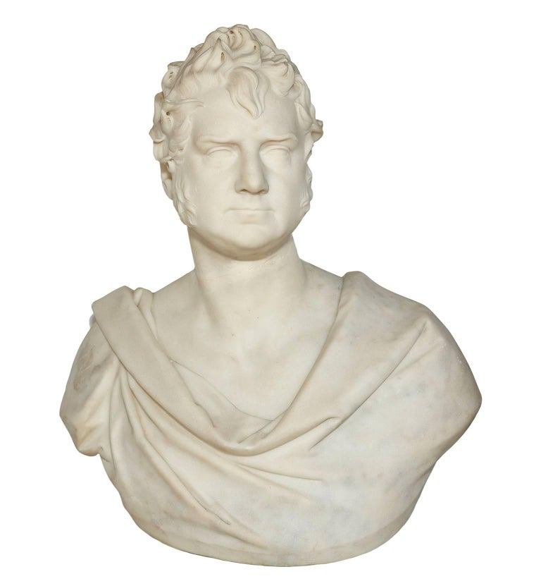 Thomas Earle (1810-1876) was a distinguished 19th century English sculptor who regularly exhibited at the Royal Academy and was honoured by that institution with a gold medal for his work. This magnificent portrait bust in the Roman style is