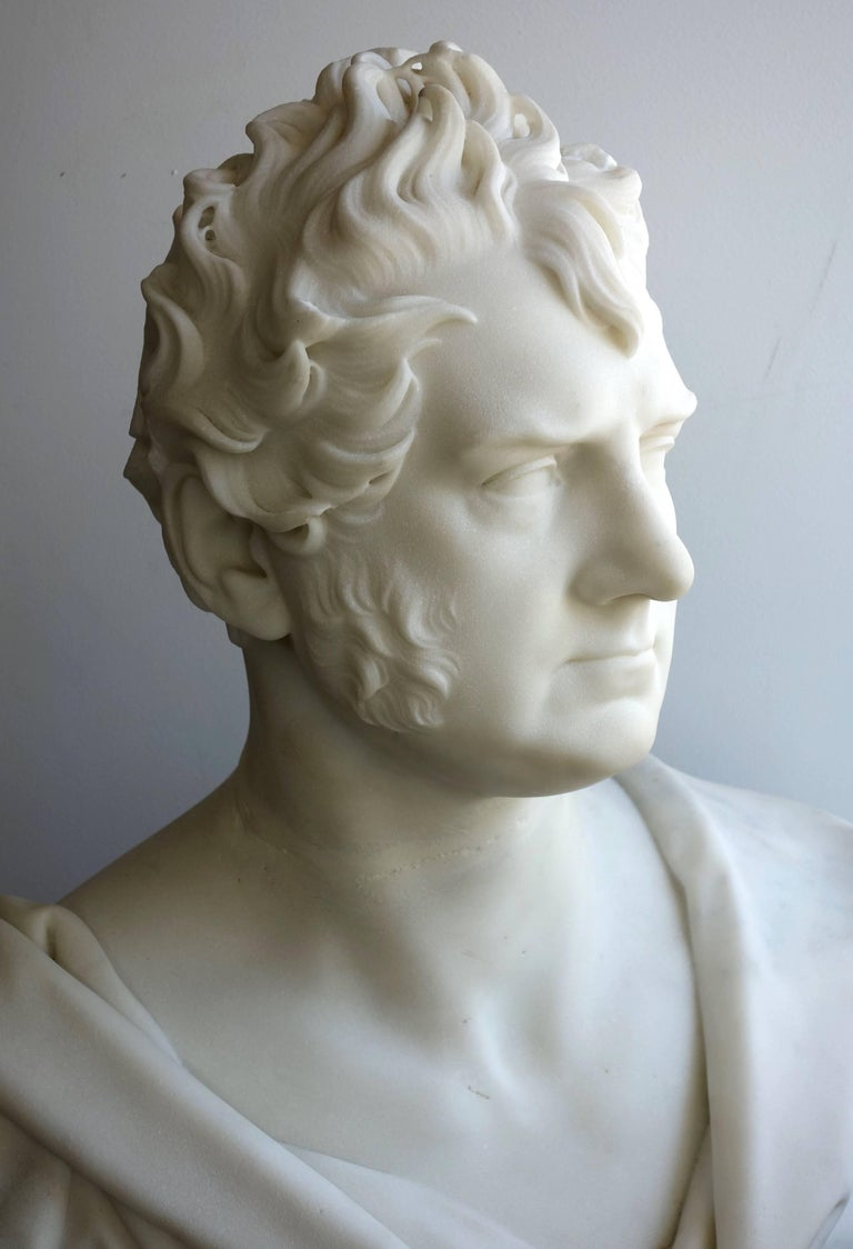 English Marble Portrait Bust of George Boole, F.R.S. by Thomas Earle For Sale