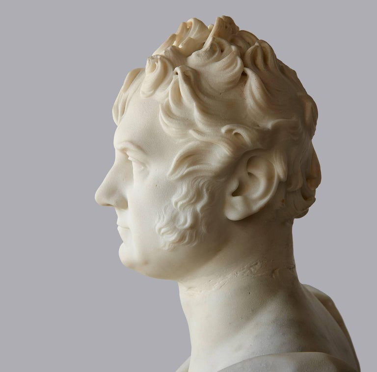Marble Portrait Bust of George Boole, F.R.S. by Thomas Earle In Good Condition For Sale In Los Angeles, CA