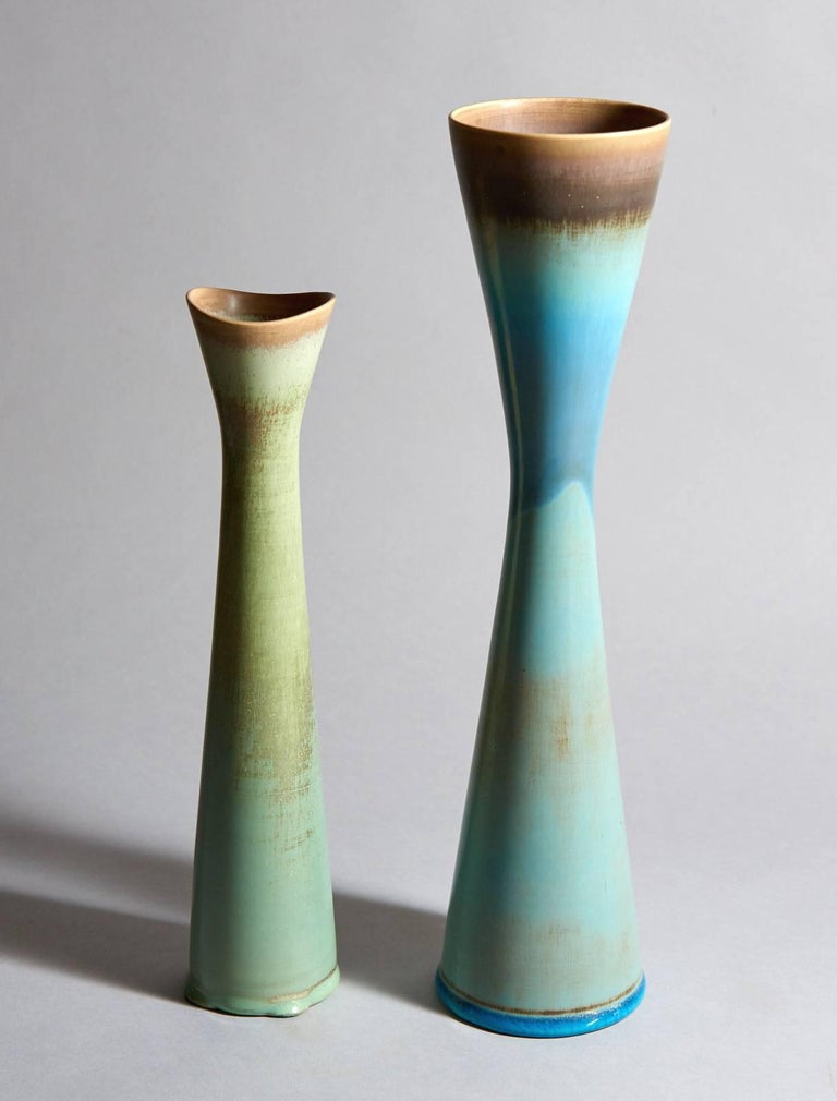 Swedish Six Studio Vases by Stig Lindberg For Sale