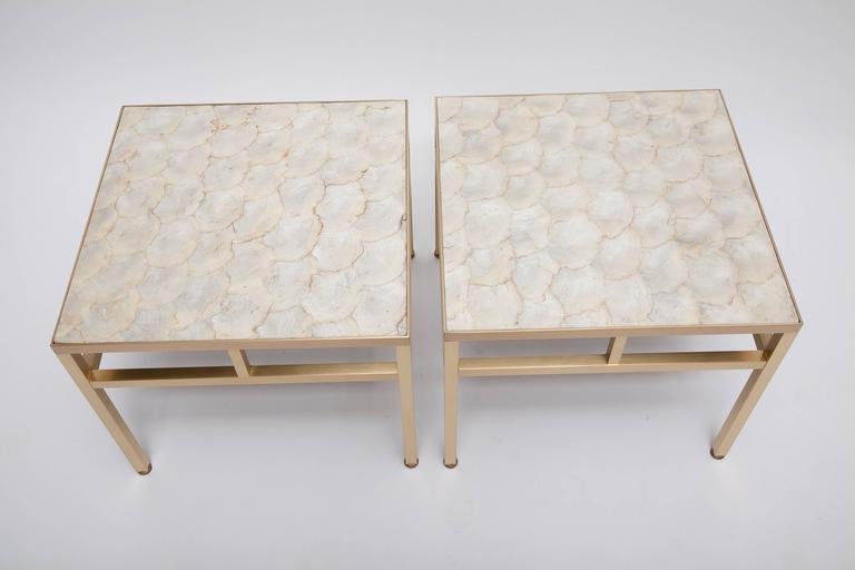 Mid-Century Modern Pair of Brass and Capiz Shell Side Tables Attributed to William