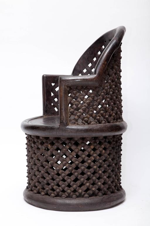 Cameroonian Bamileke Hand Carved Wood Tribal Chair - One Left! For Sale