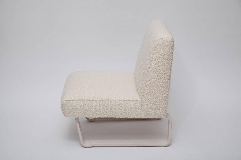 "Rare and fine ""Modern Morris"" slipper chair by Edward Wormley for Dunbar. Fully restored bleached mahogany legs, professionally upholstered in gorgeous curly mohair-and-wool Italian fabric."