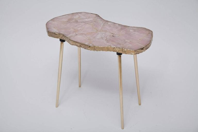 Rose Quartz and Brass Side Table 2