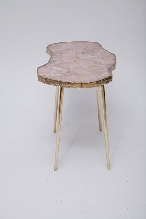 American Rose Quartz and Brass Side Table For Sale