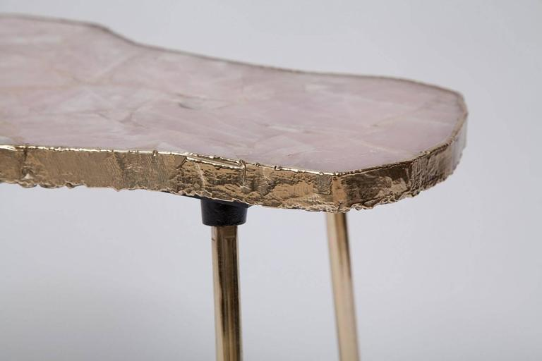 Rose Quartz and Brass Side Table In Excellent Condition For Sale In North Miami, FL