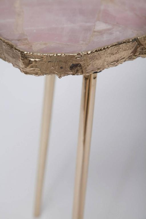 Rose Quartz and Brass Side Table For Sale 1