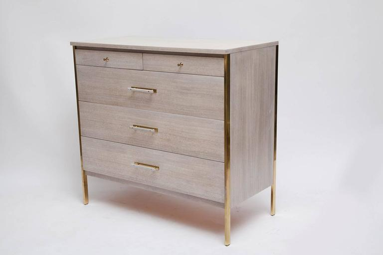 Mid-Century Modern Fully Restored Pair of Bleached Mahogany and Brass Bachelor Chest by Paul McCobb For Sale