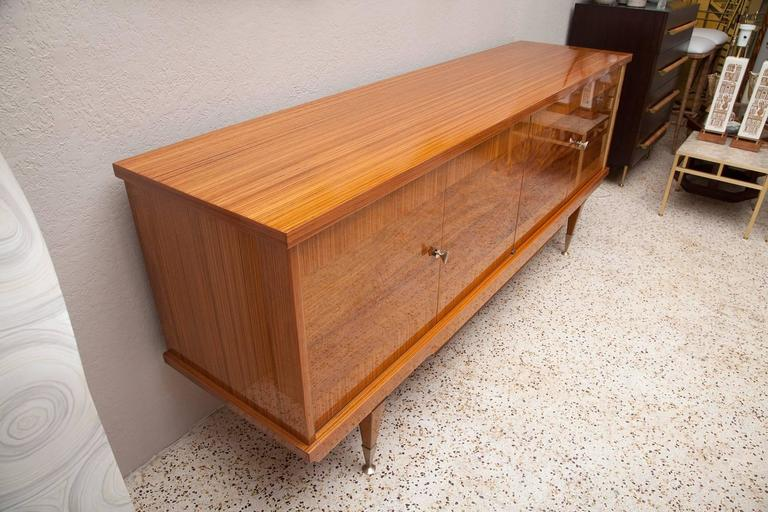 Deco Style 1960s French Zebra Wood and Burl Walnut Credenza In Excellent Condition For Sale In North Miami, FL