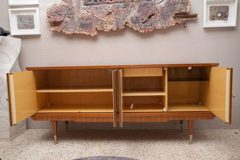 Art Deco Deco Style 1960s French Zebra Wood and Burl Walnut Credenza For Sale