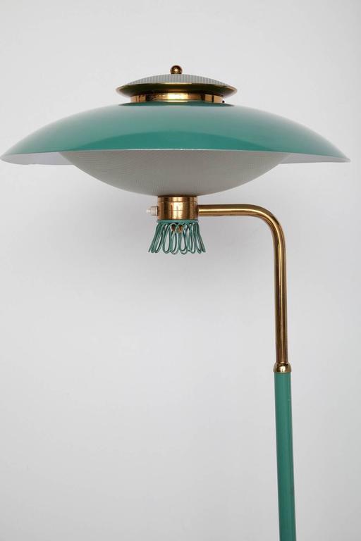 Green Enamel Midcentury Italian Floor Lamp 2