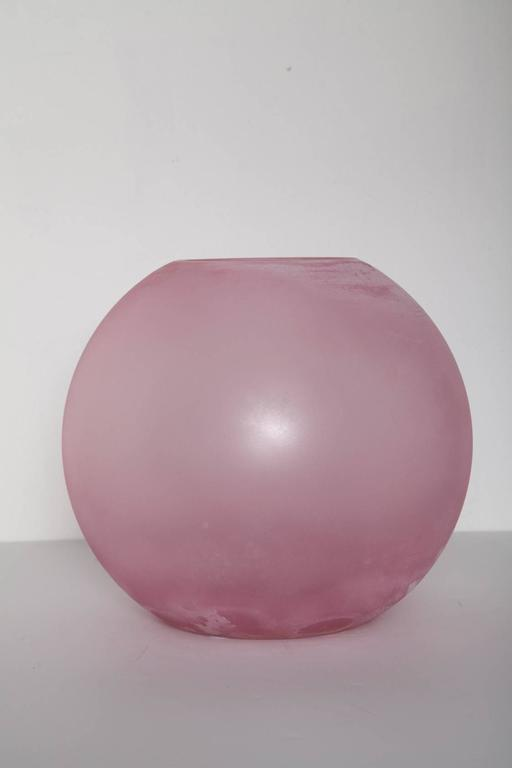 Monumentally-scaled pink scavo glass vase by Cenedese, Murano, Italy. Etched signature.
