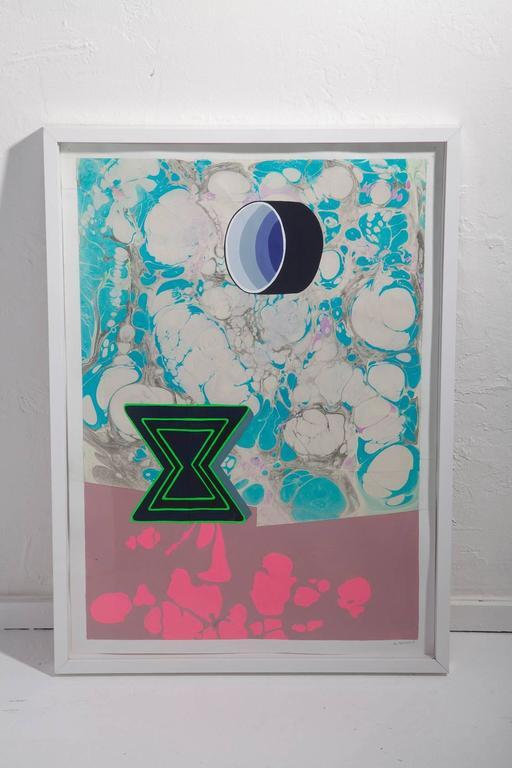 Michelle Weinberg Gouache on Marbleized Paper 2