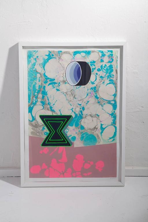 Michelle Weinberg Gouache on Marbleized Paper 7