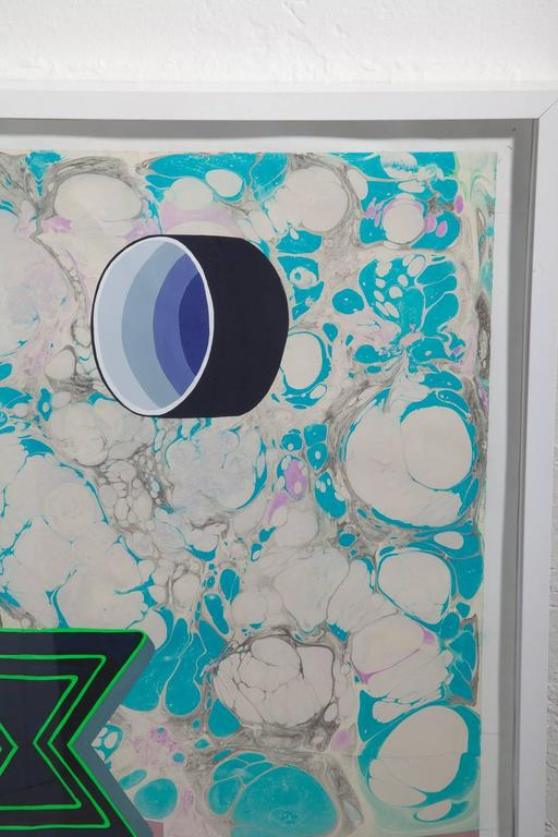 Michelle Weinberg Gouache on Marbleized Paper In Excellent Condition For Sale In North Miami, FL
