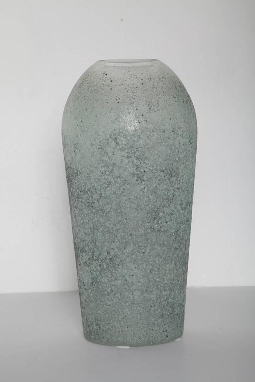 Tall 1980s handblown Murano vase in silver sage scavo glass, with gray ash inclusions adding dramatic depth and character.