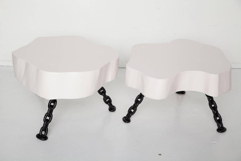 Organic Modern Pair of White Lacquered Tree Trunk Tables with Nautical Chain Legs, Circa 1960 For Sale