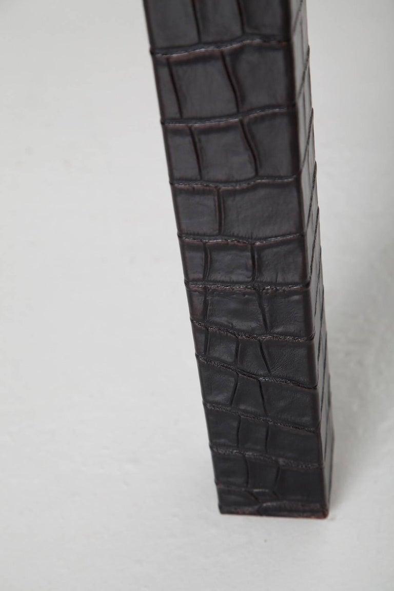 Black Alligator Embossed Leather End Tables after Karl Springer 9