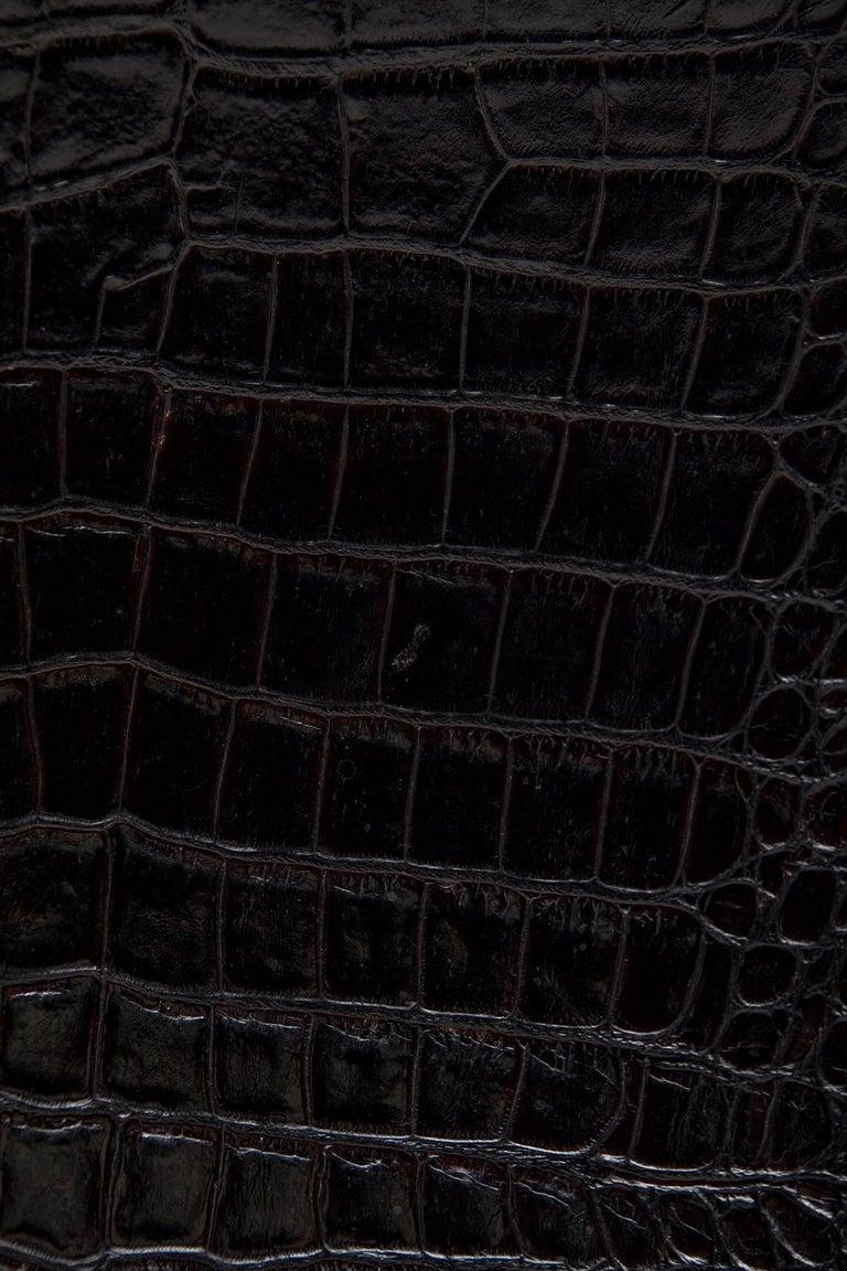 Black Alligator Embossed Leather End Tables after Karl Springer 5