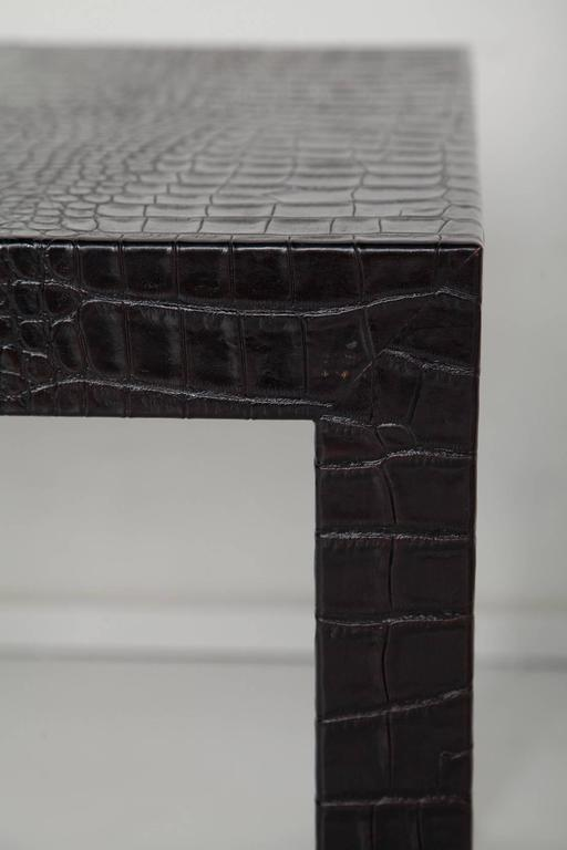 Black Alligator Embossed Leather End Tables after Karl Springer For Sale 2