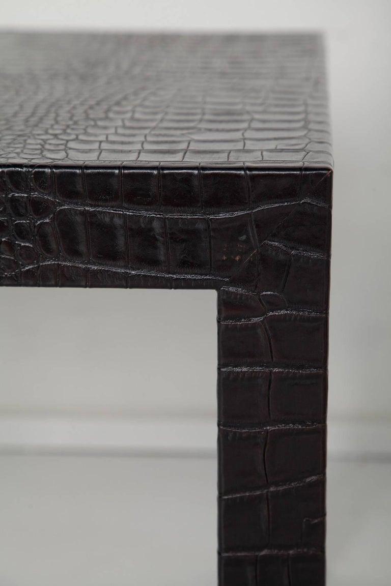 Black Alligator Embossed Leather End Tables after Karl Springer 8