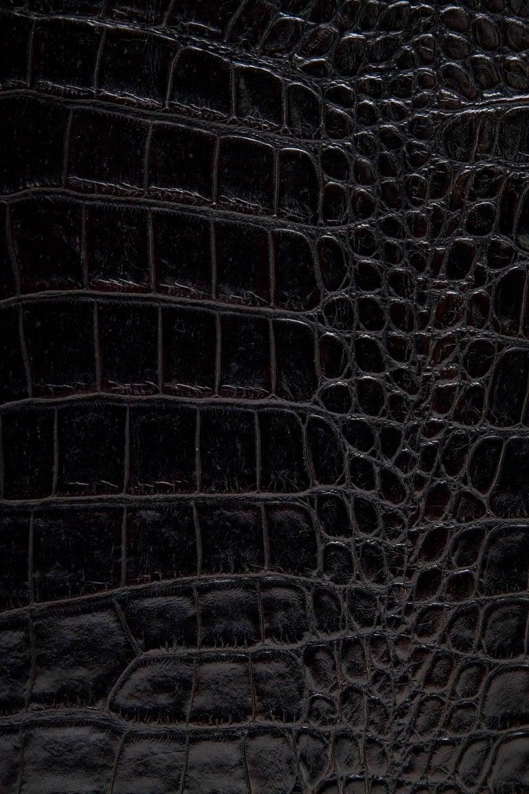 Black Alligator Embossed Leather End Tables after Karl Springer 6