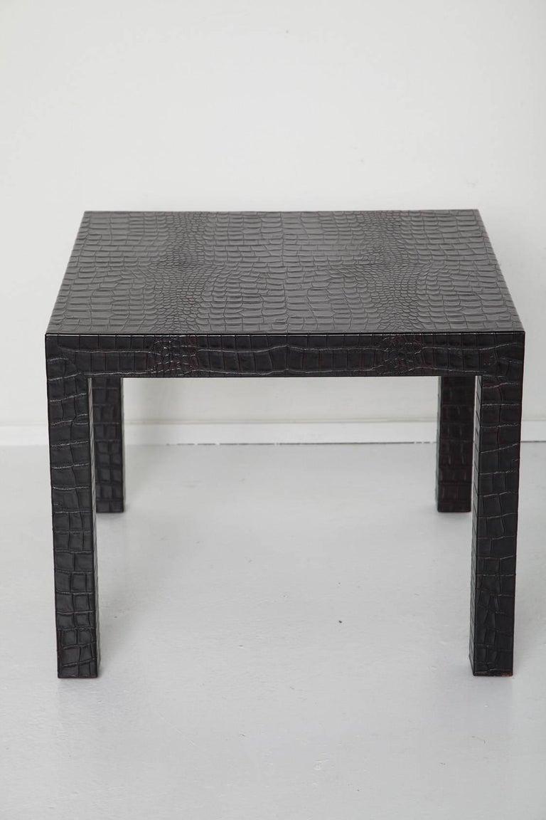 Black Alligator Embossed Leather End Tables after Karl Springer 2