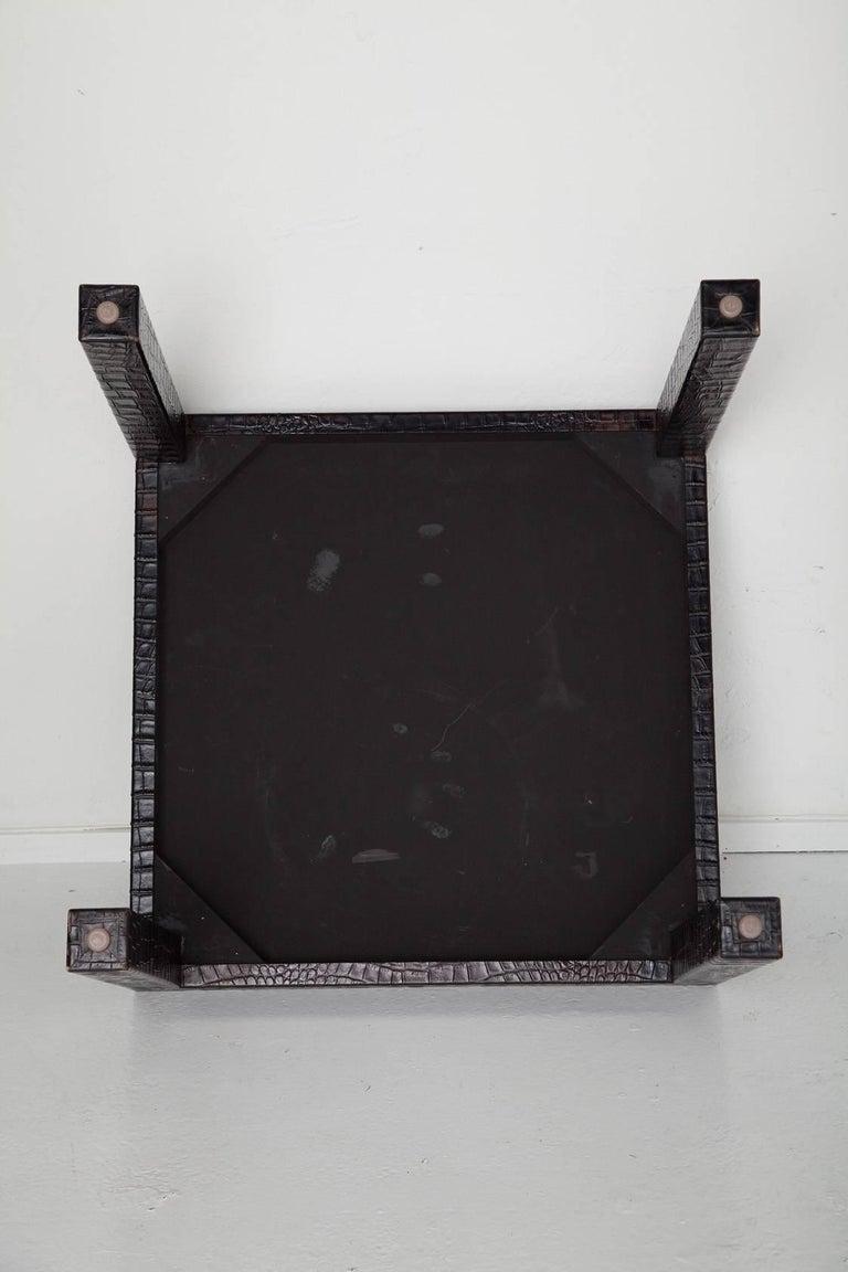 Black Alligator Embossed Leather End Tables after Karl Springer 4