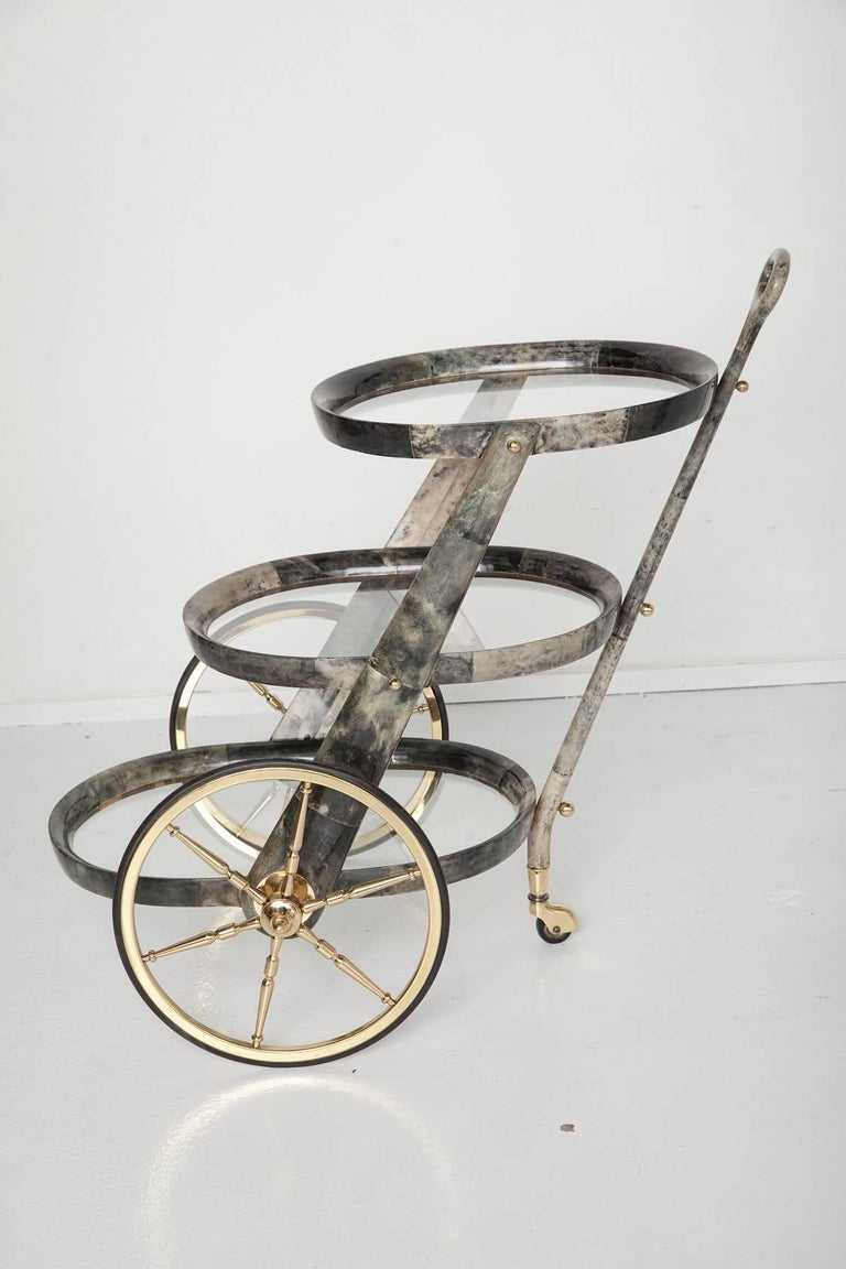 Lacquered Gray Goatskin Bar Cart by Aldo Tura For Sale
