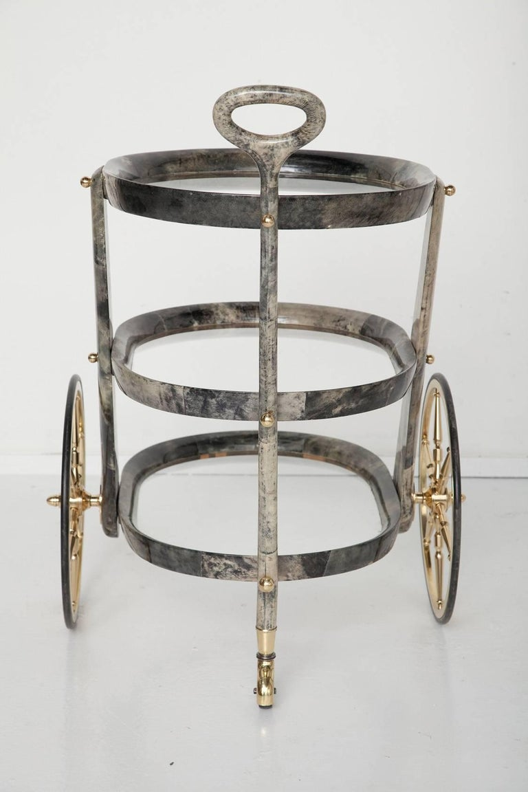 Italian Gray Goatskin Bar Cart by Aldo Tura For Sale