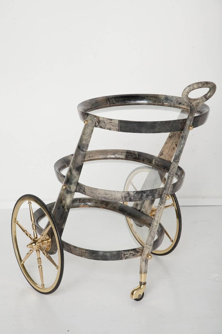 Gray Goatskin Bar Cart by Aldo Tura 3