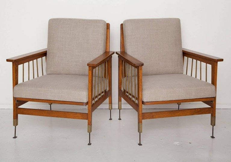 Pair of Arts & Crafts Morris-Style Oak and Brass Armchairs 2