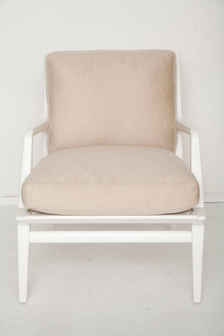 Italian Carlo Di Carli Cashmere Upholstered Lounge Chair for Singer & Sons, Circa 1955 For Sale