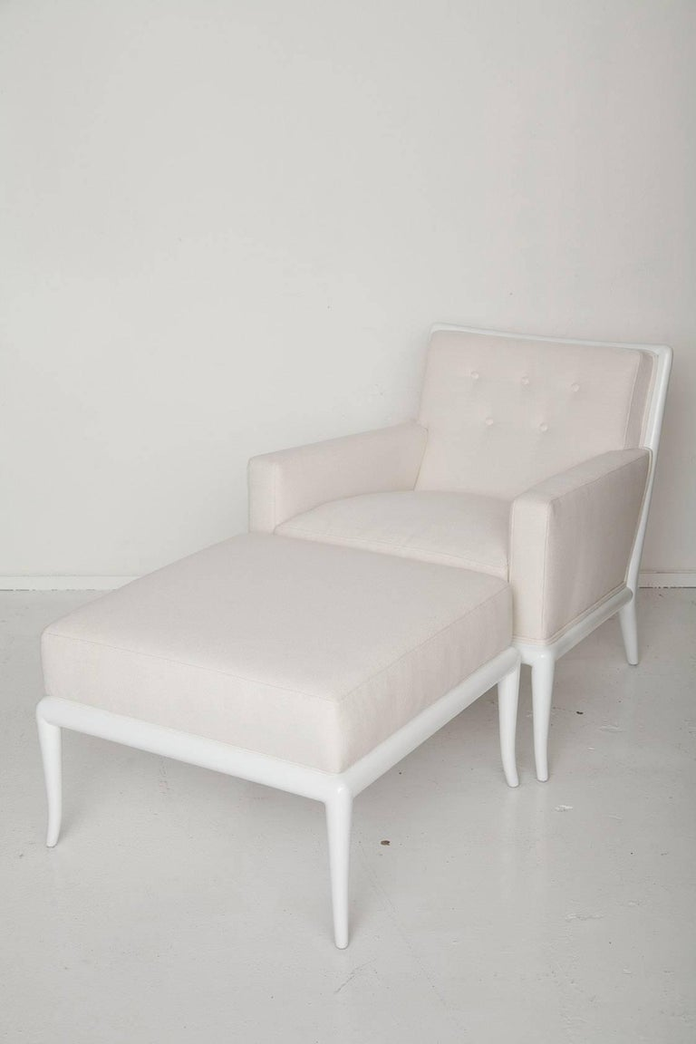 White Lacquered Lounge Chair and Ottoman by T.H. Robsjohn-Gibbings 2
