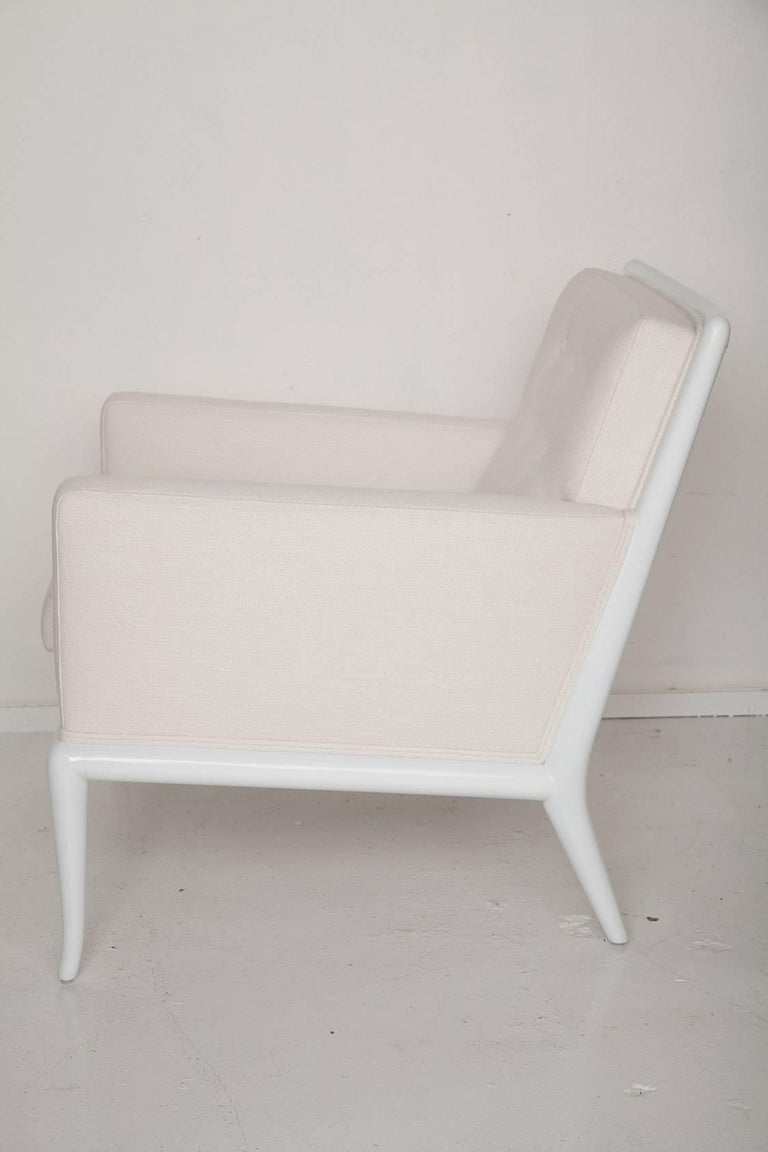 American White Lacquered Lounge Chair and Ottoman by T.H. Robsjohn-Gibbings For Sale