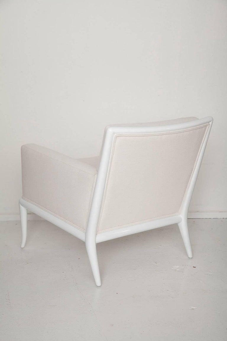 White Lacquered Lounge Chair and Ottoman by T.H. Robsjohn-Gibbings In Excellent Condition For Sale In North Miami, FL