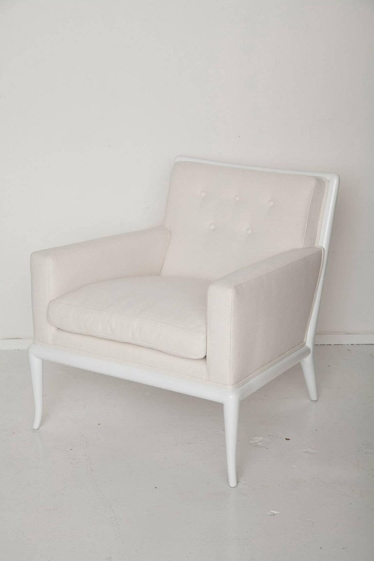 White Lacquered Lounge Chair and Ottoman by T.H. Robsjohn-Gibbings 3