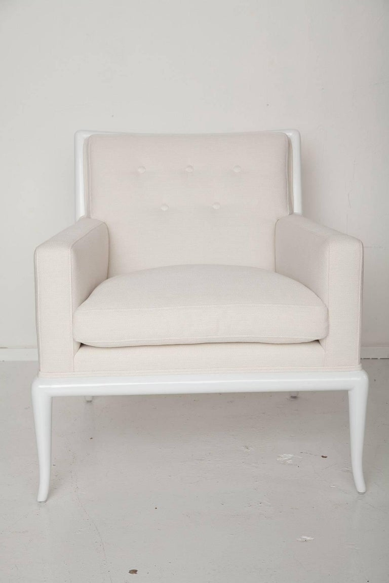 Upholstery White Lacquered Lounge Chair and Ottoman by T.H. Robsjohn-Gibbings For Sale