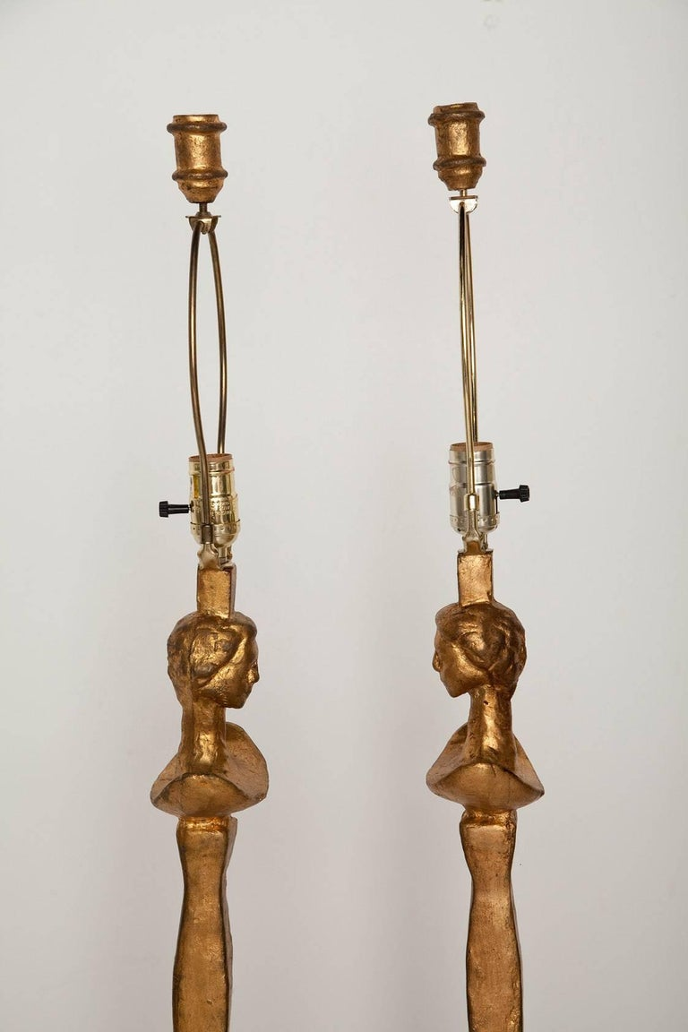 Pair of Giacometti-Inspired Tete de Femme Floor Lamps 2