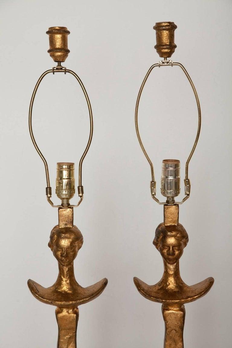 Pair of Giacometti-Inspired Tete de Femme Floor Lamps 3