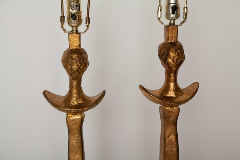 Pair of Giacometti-Inspired Tete de Femme Floor Lamps 4