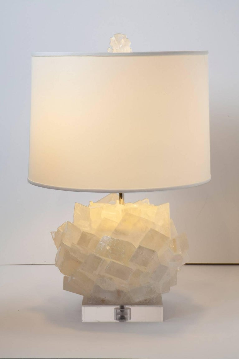 Organic Modern Pair of Calcite Crystal Table Lamps by Kathryn McCoy For Sale